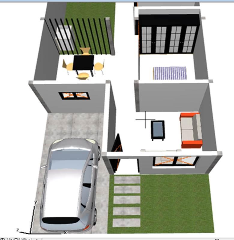 Dise o arquitect nico de casa de un piso 6 m x 15 m 90 for Planos de casas 90m2