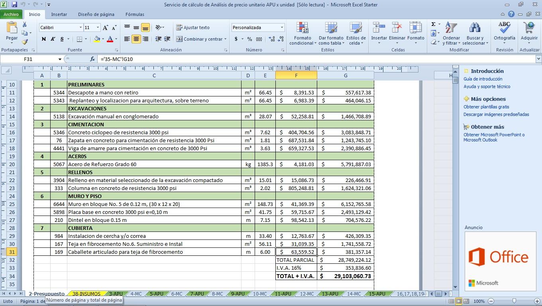 Plantilla presupuesto de casa / vivienda con cálculo que incluye ...